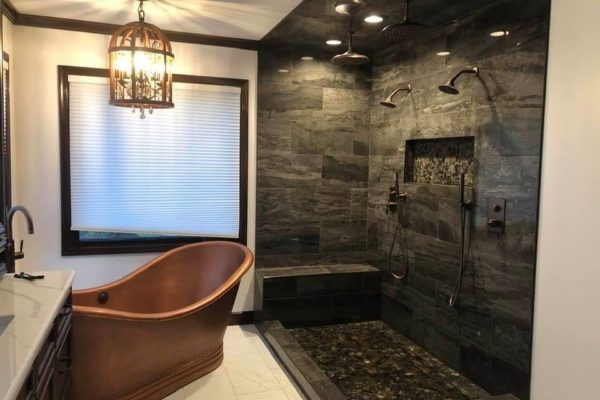 Shower Area and Copper Tub